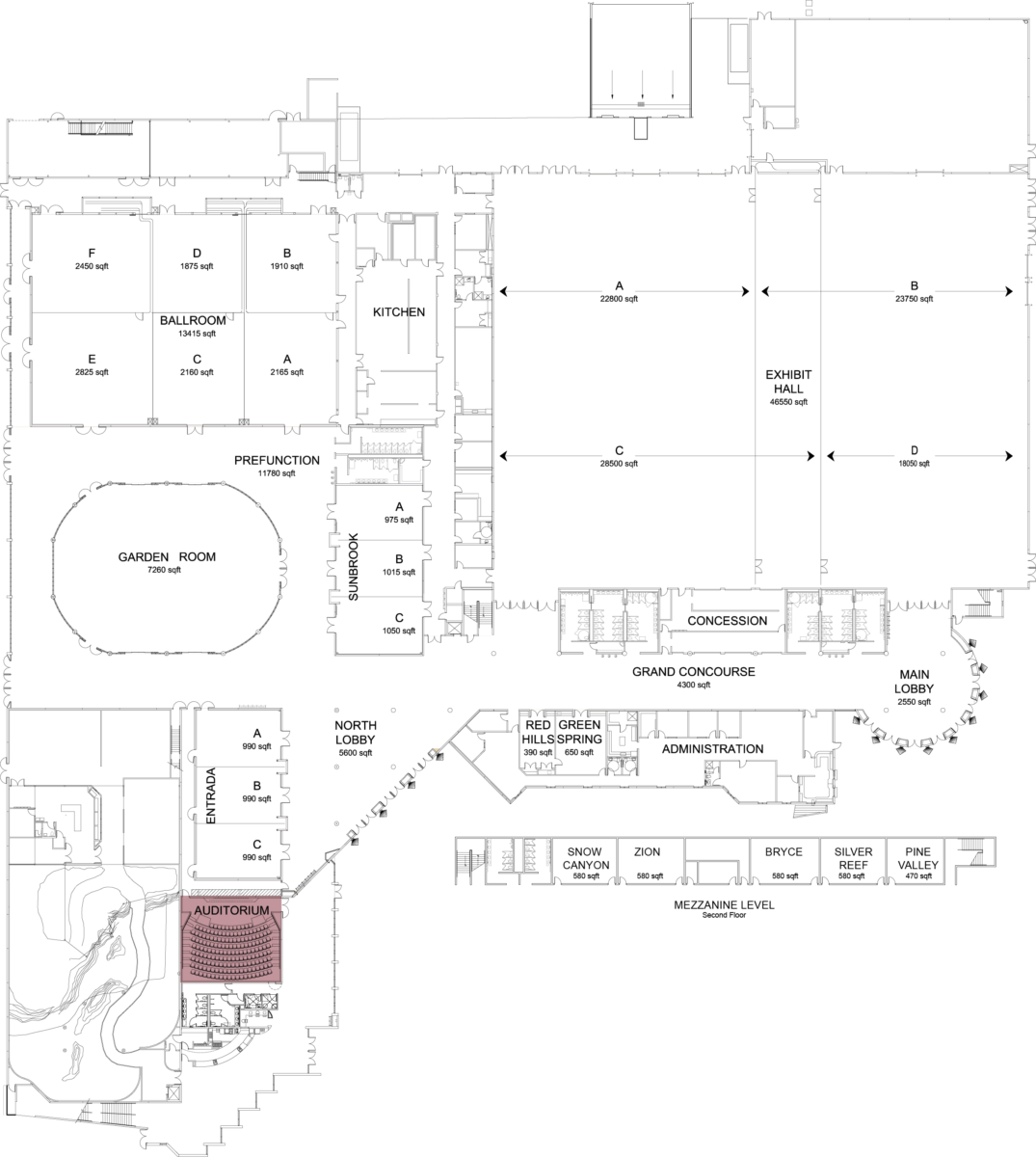 Floorplan of convention center with auditorium highlighted