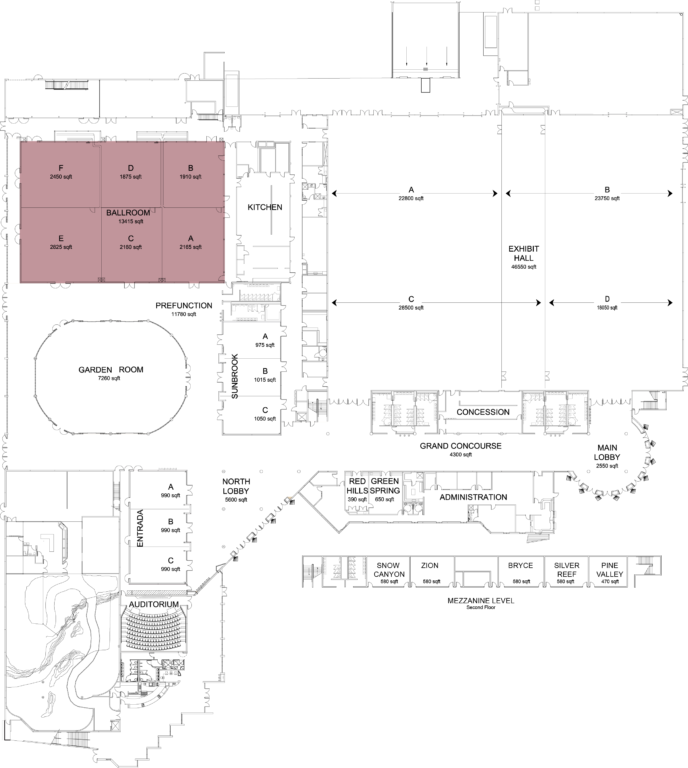 Floorplan of convention center with ballroom highlighted