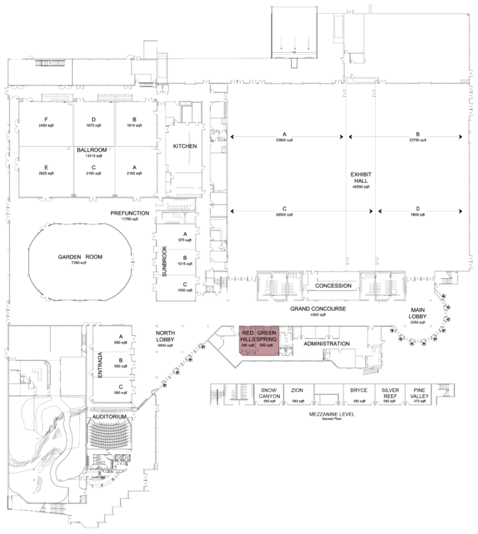 Floorplan of convention center with board rooms highlighted