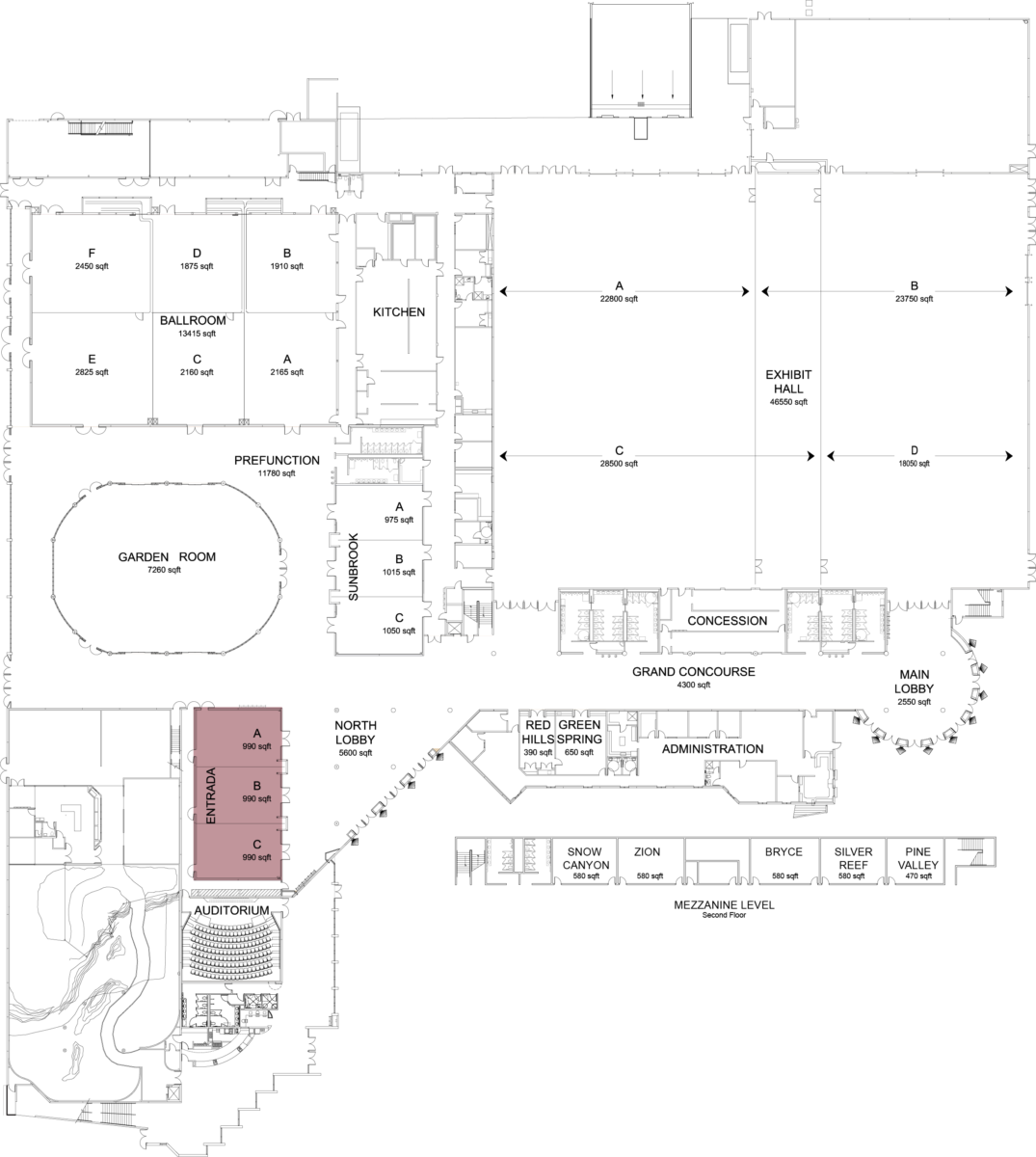 Floorplan of convention center with entrada highlighted