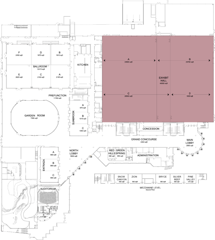 Floorplan of convention center with exhibit hall highlighted
