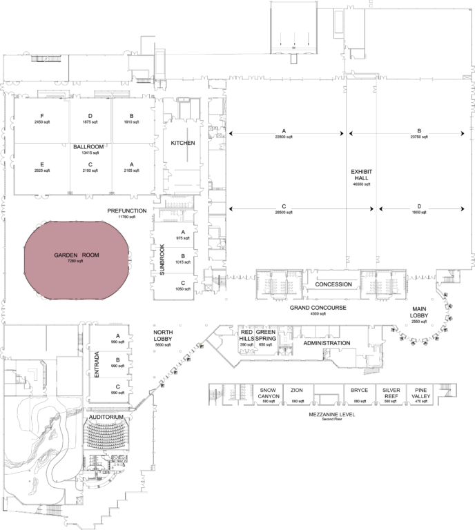 Floorplan of convention center with garden room highlighted