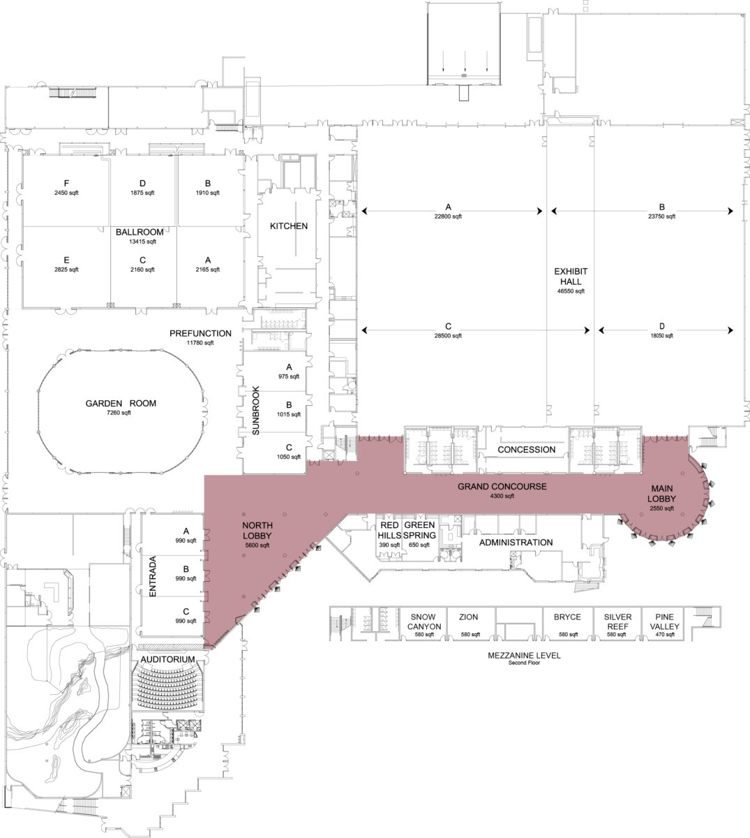 Floorplan of convention center with lobby highlighted
