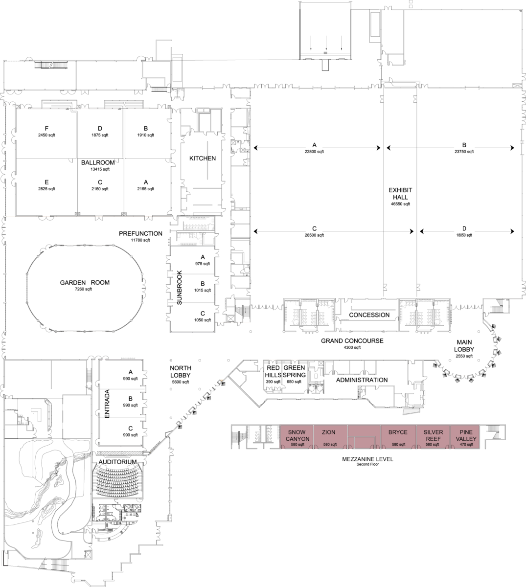 Floorplan of convention center with mezzanine highlighted