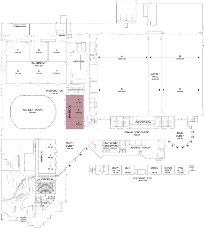 Floorplan of convention center with sunbrook highlighted