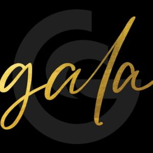 black box with gold gala letters